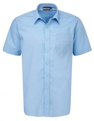 Girls Blue Button Up Short Sleeve Shirts